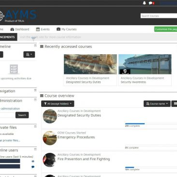 AYMS LMS Dashboard - Courses Overview